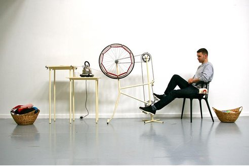 pedal powered un-knitting machine