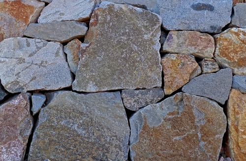 dry stack stone wall detail