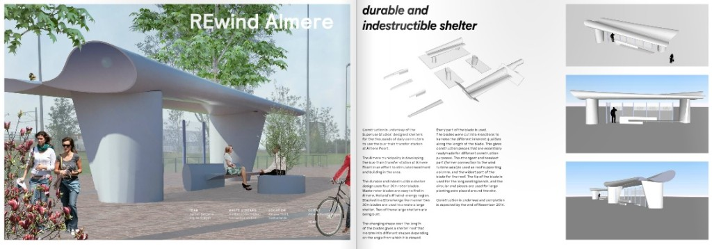 bus shelter made from discarded rotor blades wind turbine