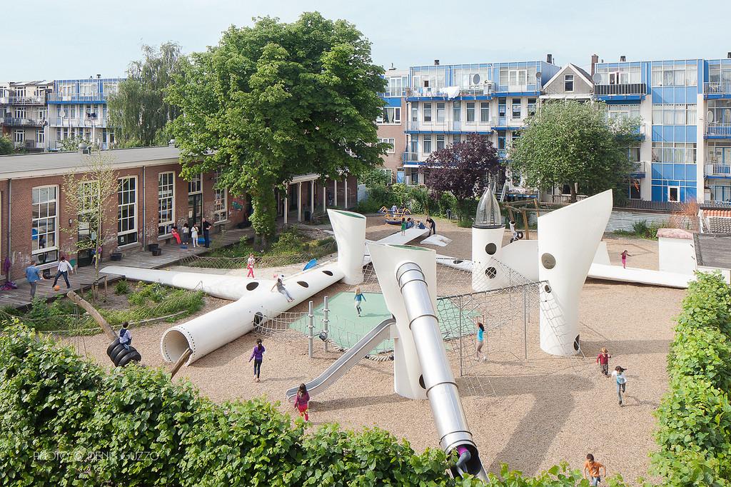 playground made of rotor blades