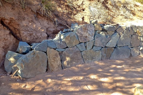 dry stack stone wall in progress